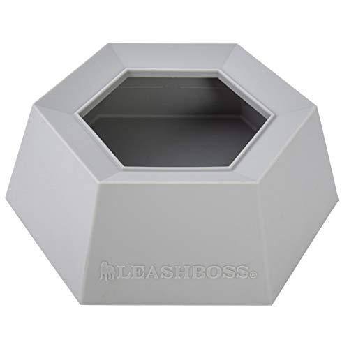 Leashboss Splashless Travel Dog Water Bowl – Large 40oz Capacity, No Spill Portable Silicone Car Dish (Grey, Silicone)