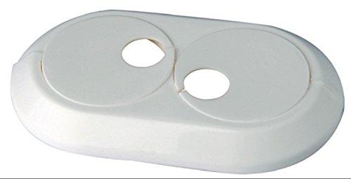 5 Stück: Heizungsrosetten Heizungsmanschetten Heizrohrmanschetten Heizrohrrosetten Doppelrosetten weiß 22 mm