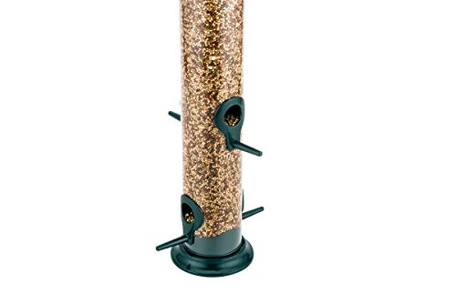 iBorn Bird Feeder Hanging Wild Bird Seed Feeder for Mix Seed Blends, Niger Seed Feeder, Sunflower Heart, Birdbath, Heavy Duty All Metal Anti-UV Paint-Finishing, Green 14 Inch