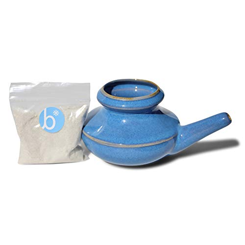Baraka Neti Pot Starter Kit Blue Color - Handcrafted Ceramic - Dishwasher Safe Neti Pot and 2 oz Mineral Sea Salt Rinse for Sinus Relief