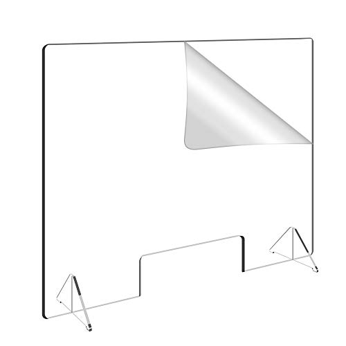 31.5'W x 23.5'H Personal Protection Shield, Sneeze Guard Shield for Counter and Desk, Clear Acrylic Shield for Business and Customer Safety, Portable Plexiglass Barrier, with 4' Tall Opening