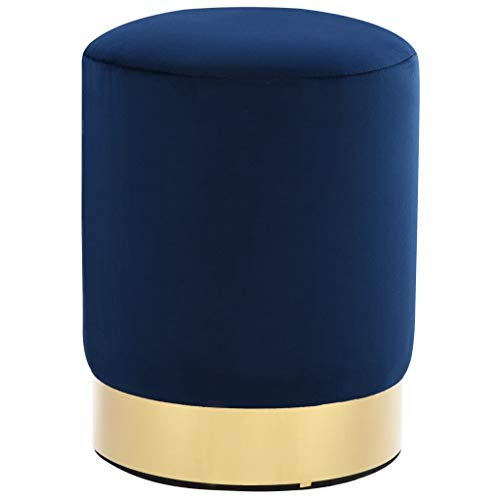 vidaXL Hocker Fassform Polsterhocker Sitzhocker Schemel Samthocker Pouf Sitzpouf Velour Fußhocker Rund Blau Golden Samt 26,5x38cm Metall
