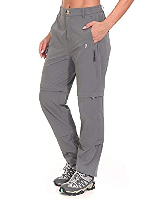 Little Donkey Andy Women's Stretch Convertible Pants, Zip-Off Quick-Dry Hiking Pants Gray Size M
