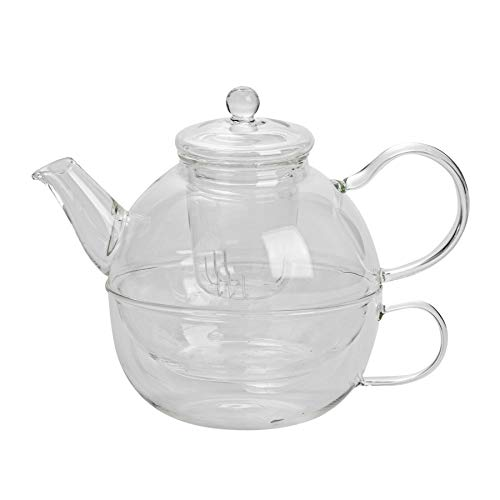 Argon Tableware Glass Tea-For-One Tea Pot, Cup and Strainer Set - 550ml (Teapot)