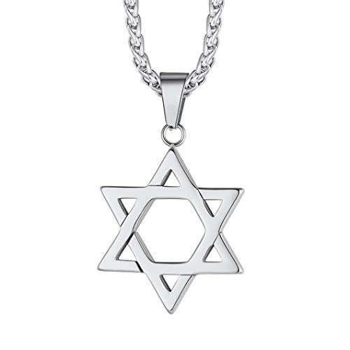 Richsteel Collar Estrella de David Acero Inoxidable Colgante en Cadena 55cm Ajustable