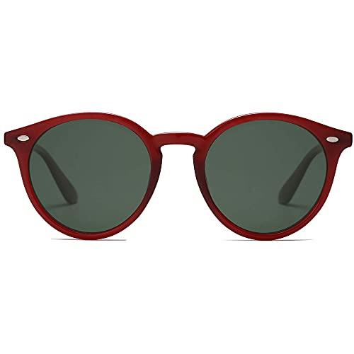 SOJOS Classic Retro Round Polarized Sunglasses for Women Men SJ2069 ALL ME Red/Green