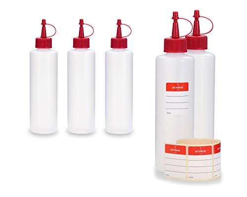 Octopus 5 x 250 ml HDPE Plastikflaschen, z.B. für E-Liquids (E-Zigaretten), Liquidflaschen BZW. Kunststoffflaschen mit roten Spritzverschlüssen/Tropfverschlüssen, inkl. Beschriftungsetiketten