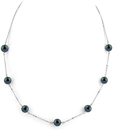 THE PEARL SOURCE 14K Gold 7 5 8 0mm Round Genuine Black Japanese Akoya Saltwater Cultured Pearl product image