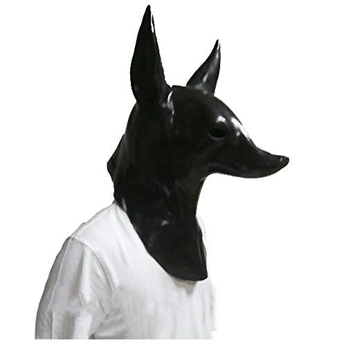 HYTMASK Mscara Anubis para perros de Halloween, disfraz de chacal lobo de montaa perro lobo mscara de cabeza de lobo adulto unisex