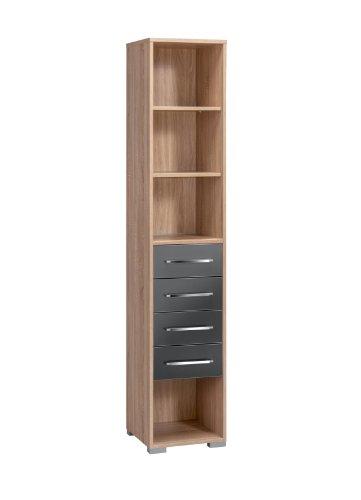 MAJA-Möbel 1230 2574 Aktenregal mit 4 Schubladen, Sonoma-Eiche-Nachbildung - grau Hochglanz, Abmessungen BxHxT: 42,1 x 214,5 x 40 cm