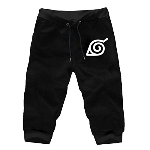 TSHIMEN Shorts Heren Jogging Naruto Anime Mens Cropped Pants Jogger Luminous Broeken Zomer kuitlengte Pant Men Casual joggingbroek zwart