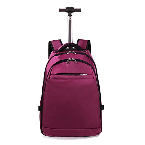 FREETT Unisex Trolley Backpack with Wheeled, Laptop Luggage Case, Waterproof Trolley Suitcase for University, Tourism, Boarding, High Capacity, 48 L,Purple