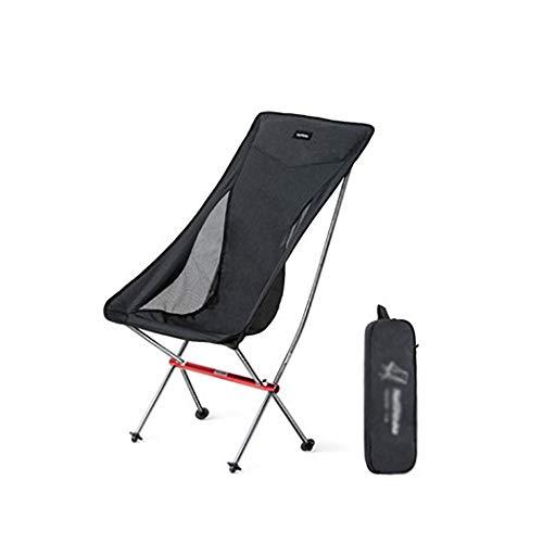 Relaxliege liegestuhl ZM& Ultralight Aluminium Klappstuhl Tragbarer Campingstuhl Im Freien Mit Mond (Farbe : Schwarz)