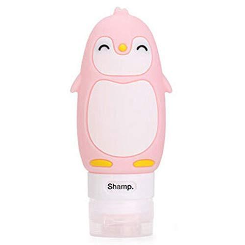 Saniswink - Mini flacon pulvérisateur portable rechargeable vide, motif monstre, ours, pingouin, canard, bouteille de voyage - Rose