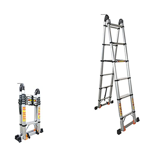 LIUCHUNYANSH Escalera De Aluminio,Escalera Telescópica,Escalera De Aluminio Multiusos,Altura Regulable,Muy Resistente Y Estable (Size : Multifunction 1.7+1.7m)