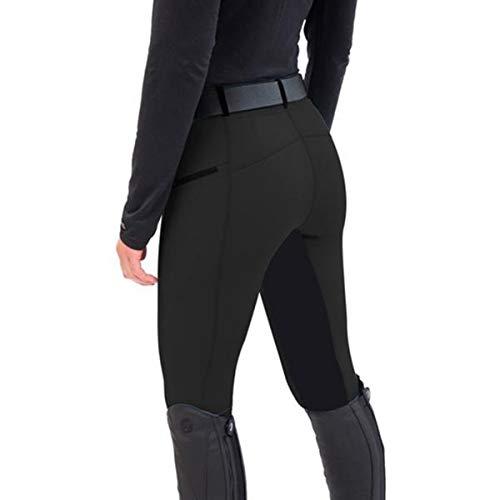 LGQ Pantalones ecuestres Cintura cómodos Parches de Rodilla para Montar ecuestres Mallas Deportivas para Montar a Caballo para Hombres y Mujeres,Negro,L