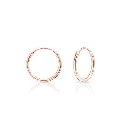DTPsilver - Damen - Creolen - Ohrringe 925 Sterling Silber und Rose Vergoldet - Dicke 1.2 mm - Durchmesser 16 mm