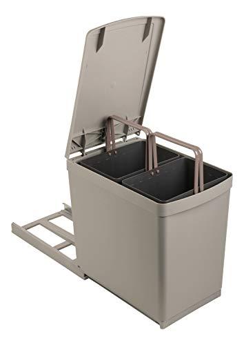 Sanitop-Wingenroth Ausziehbarer Mülleimer Küche | 2 x 7,5 l Einbaumülleimer | 2-fach Trennsystem | 15 Liter Abfallsystem | Abfallsammler | Deckelheber | Bodenmontage | Kunststoff Grau | 28014 3