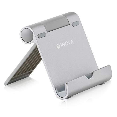 INOVA(イノバ) タブレットスタンド 4~10インチ 角度調整 アルミ製 キズ防止 折りたたみ iPhone スマホ 3R SYSTEMS シルバー
