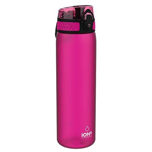 Ion8 Botella Agua Sin Fugas, Sin BPA, 600ml, Rosado
