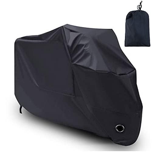 Cubierta de moto, 210D Oxford tela impermeable para moto con agujero de bloqueo, cubierta de protección al aire libre para todas las estaciones (XL: 245 x 105 x 125 cm)