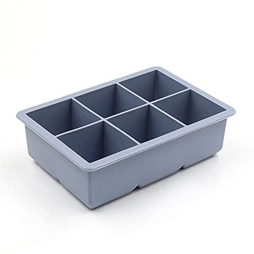 Tekaopuer Bandeja de cubitos de hielo, molde de silicona para cubitos de hielo, juego de 2/4 bandejas de silicona para whisky reutilizable y libre de BPA (6 cuadrícula azul, con tapa-2 unidades)