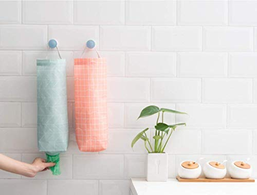 Sac Plastique Holder 2 pcs/lot, étanche support mural Distributeur de sac à provisions Garbage Organiseur de sac avec un accès facile en haut et en bas ouvertures pour bureau à domicile de cuisine