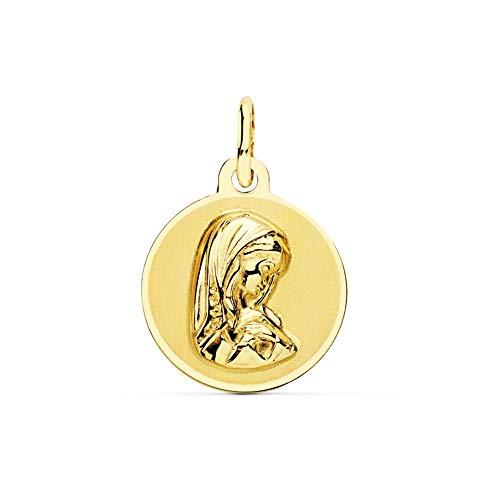 Medalla Oro 18K Virgen Niña 14mm. Redonda Mate Borde Liso Brillo - Personalizable - Grabación Incluida En El Precio