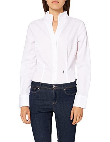 Seidensticker Damska bluzka – modna bluzka – bez fiszbin – Slim Fit – długi rękaw – 100% bawełna, biały, 40 PL