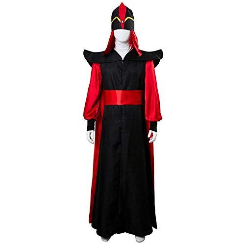 Lydia's Anime Cosplay Ropa Cuentos de Las mil y una Noches Aladdin Villain Jafar Cosplay para Hombres Trajes de Traje Rojo Negro Disfraces de Halloween Traje de Bata Sombrero Traje S