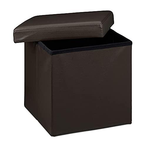 Taburete almacenaje, baúl almacenaje pequeño y Plegable, Cuadrado, piél sintética 38x38x38 cm (Marron)