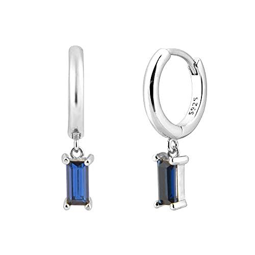 Pendiente colgante de plata 925 de 10 colores, pendiente de gota, Piercing para mujer, joyería fina de lujo de alta calidad, azul plateado