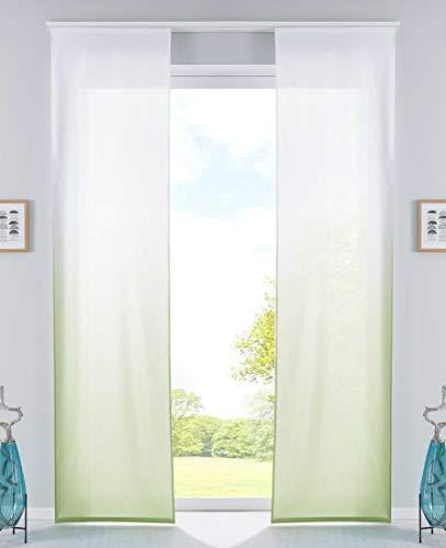 Gardinenbox - Juego de 2 Cortinas (Acabado Mate, microsatén, ÖKÖTEX Standard 100, Incluye riel y Accesorios, 100% poliéster, 245 x 60 cm), Color Verde Manzana