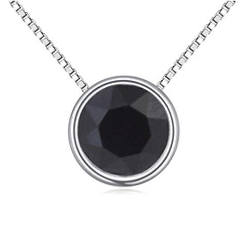 QUADIVA E! - Collar con colgante básico solitario para mujer (color: oro blanco y cristal negro azul) decorado con un cristal brillante de Swarovski
