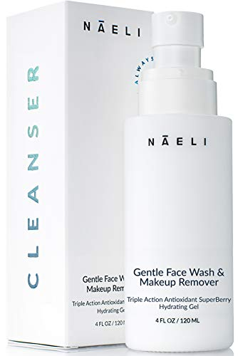 Gentle Hydrating Daily Facial Cleanser & Makeup Remover for Sensitive Skin, Rosacea & Eczema - Natural Anti Aging Face Wash with Vitamin C & Hyaluronic Acid - Soap & Alcohol Free, 4 oz