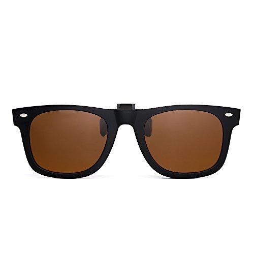 Polarisiert Clip auf sonnenbrille Flip up Gespiegelt Brille Damen Herren(Matt-schwarz/Polarisiertes Braun)