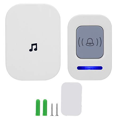 Wireless Intelligent Doorbell Remote, Wireless Doorbell, 918.6ft Range Waterproof Door Chimes, US Plug 90‑260V, White