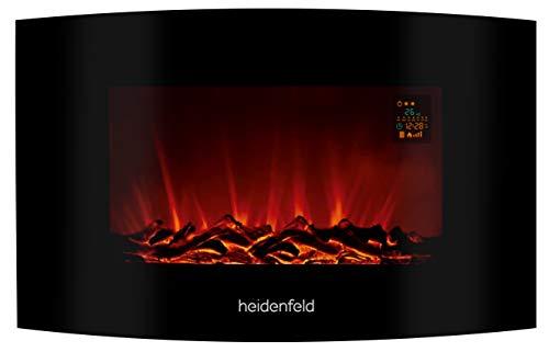 Heidenfeld Wandkamin Elektrisch HF-WK100 mit Fernbedienung - 3 Jahre Garantie - 1000 oder 2000 Watt - Flammensimulation - Heizthermostat - Kaminofen Elektrokamin Kaminfeuer (WK100B Curved Holzoptik)