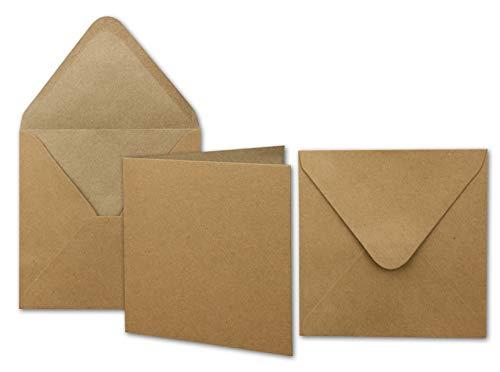 50x Kraftpapier-Karten Set quadratisch 13,5 x 13,5 cm mit Brief-Umschlägen - Recycling Vintage Karten-Set - für Einladungen