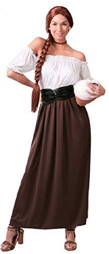 Fancy Me Damen Mittelalter Gastwirt Landlady Oktoberfest Bier Maiden Dienst Dirndel Kostüm Kleid Outfit 14-18 - Braun, UK 14-18