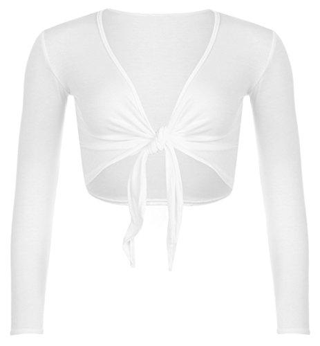 Red Olives Women's Ladies Plain Bolero Front Tie Shrug Cropped Long Sleeve Stretch Cardigan Top UK 8-22 (8-10, White)