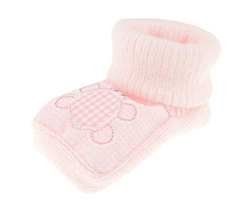 Chaussons en tricot pour bébé fille et garçon - Motif animal (tortue) - Rose