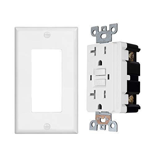 1 Pack - GFCI Duplex Outlet Receptacle - Tamper Resistant 20-Amp/125-Volt, Self-Test Function with LED Indicator - UL Listed, cUL Listed - Wall Plate and Screws Included, White