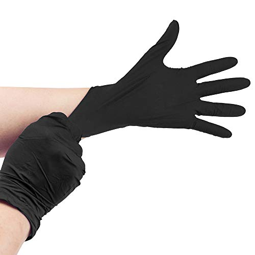 100 Count Disposable Nitrile Gloves Powder Free Rubber Latex Free 4 Mil - Black M