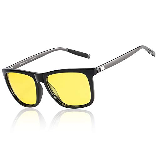 Duco Night Driving Glasses for Headlight Anti-glare Night Vision Glasses With Yellow Lenses 3029 (Black)
