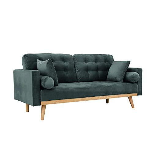 Casa Andrea Milano llc Mid Century Modern Tufted Upholstered Fabric Sofa Couch, Slate Velvet