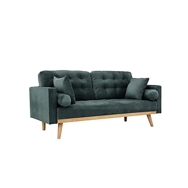 Casa Andrea Milano llc Mid Century Modern Tufted Upholstered Fabric Sofa Couch