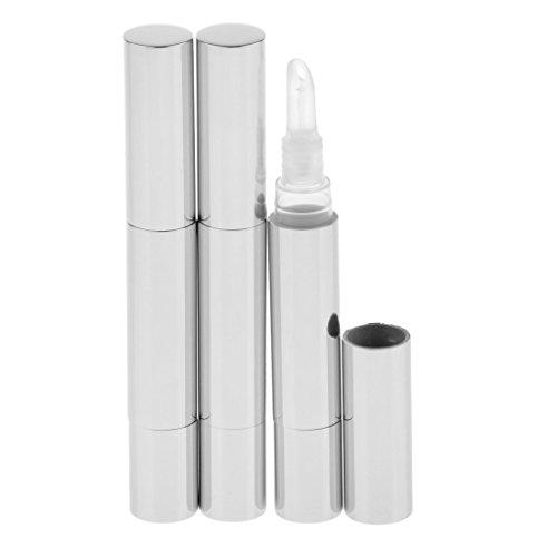 Sharplace 3x 5ml Vides Tubes Stylo à Torsion Rechargeable en Métal à Lip Gloss/Vernis à Ongles/Parfum, Récipient Cosmétique Idéal pour Voyage - Argent