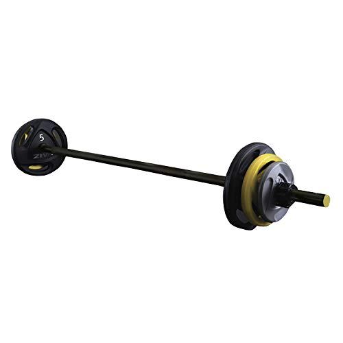 ZIVA Classic Set Body Pump Completo, barra 140cm, discos 2x 5Kg, 2x 2,5Kg, 2x 1,25Kg, Entramiento en Casa, Gimnasio, Fitness