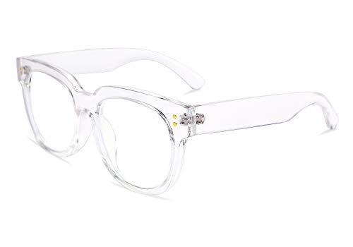 FEISEDY Retro Square Thick Big Frame Blue Light Blocking Reading Glasses Anti Glare Digital Eyestrain Reader B2523